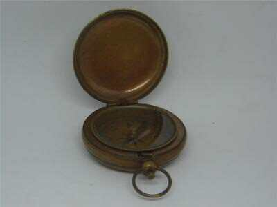 Antique Hunter Style Vintage Bronzed Brass Push Button Ross Pocket Compass