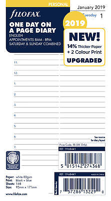 Filofax Personal One Day on a Page with Appointments 2019 Diary Refills