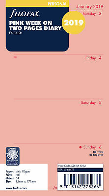 Filofax - Personal Week On Two Pages English Pink 2019 Diary Refills
