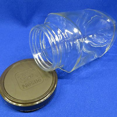 . Nestle Nescafe Coffee Glass Jar Container - Square w Branded Brown Logo Lid