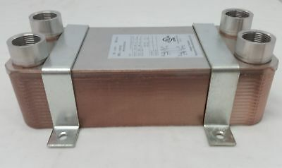 """Water to Water Brazed Plate 30 Plate~1"""" 'FPT Ports w/INSTALL BRACKETS"""