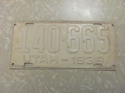 1938 Utah License Plate   Free Shipping See My Other Plates