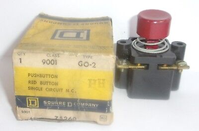 Square D 9001 Go-2 Red Push Button Single Circuit G02 New In Damaged Box