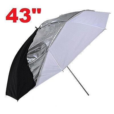 110cm  Studio Flash Light Grained Black Silver Umbrella Reflective Reflector  ,,
