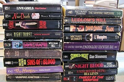 VTG Big Lot of 18 Paper Back Books 1980's & 90's Vampire Horror Book Collection