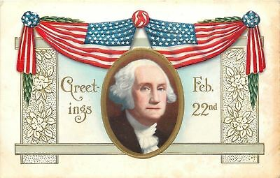 Patriotic~George Washington Portrait~Feb 22nd~Flag Swag~Gold~Emboss~Art Nouveau