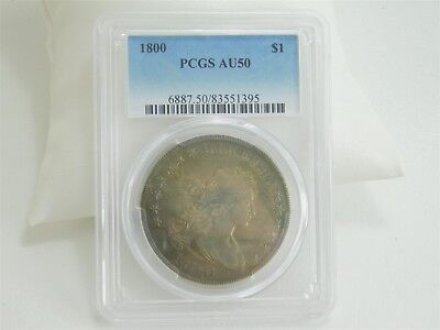 1800 $1 Draped Bust PCGS AU50 Natural Blue Toned Dollar US Coin AR0240
