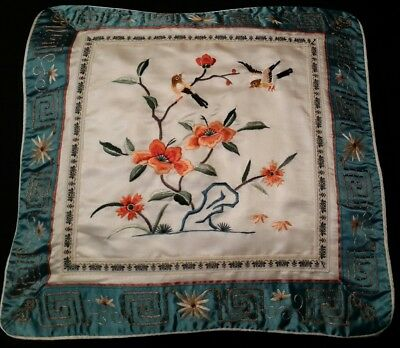 "Floral Embroidered Pillow Birds Vtg Asian Silk Multi Color Top Cover 13"" Square"