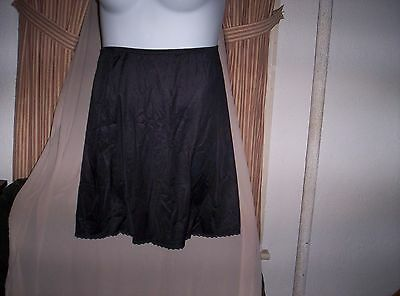 New Vanity Fair Short Half Slip Size Small Black Wide Bottom  20 Inch Long Black