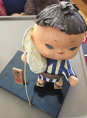 Chinese Male Doll On Black Platform With Box, Sign, And Script Collectible