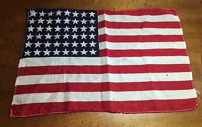 "Antique 48 STAR US FLAG WWII Era Small 11"" X 16"" (Stains, Holes) VINTAGE"
