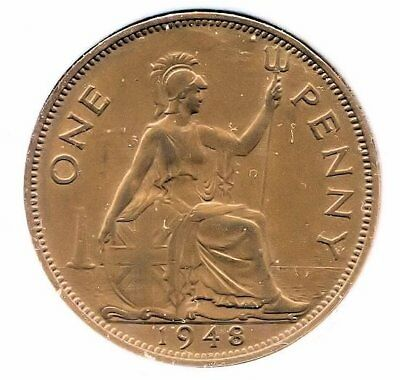 Great Britain 1948 Large One Penny Coin - United Kingdom England King George VI