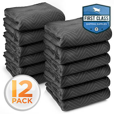 """12 Heavy-Duty 80"""" x 72"""" Moving Blankets 65 lb/dz Pro Packing Shipping Pads Black"""