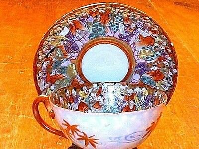 Antique HPTD Japanese 1000 Thousand Faces / Scholar Porcelain Tea Cup & Saucer