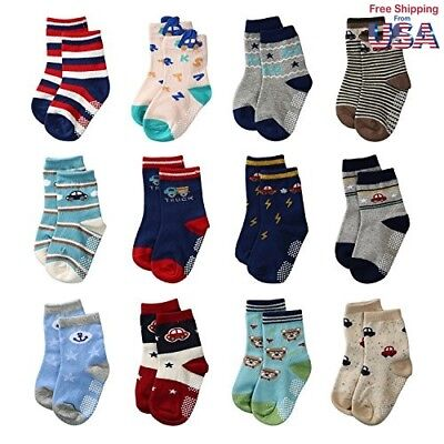 La Volupte Baby Boy's Ankle Cotton Socks Toddler Non Skid Socks with