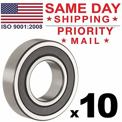 Lot of 10 PCS, 6205-2RS Rubber Sealed Ball Bearing, 25x52x15, Lubricated 6205RS