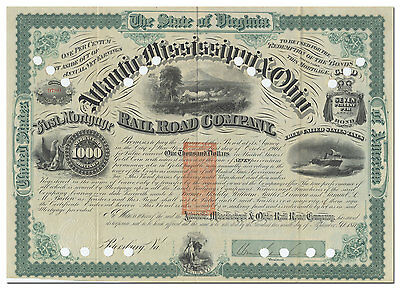 Atlantic, Mississippi & Ohio Railroad Company Bond, Signed by William Mahone