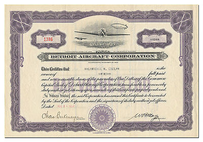 Detroit Aircraft Corporation Stock Certificate - Fantastic Vignette!