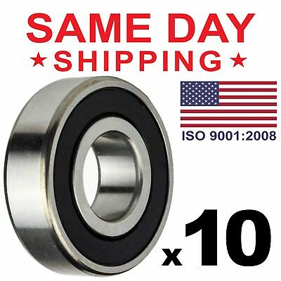 Lot of 10 PCS, 6200-2RS Rubber Sealed Ball Bearing, 10x30x9, Lubricated 6200RS