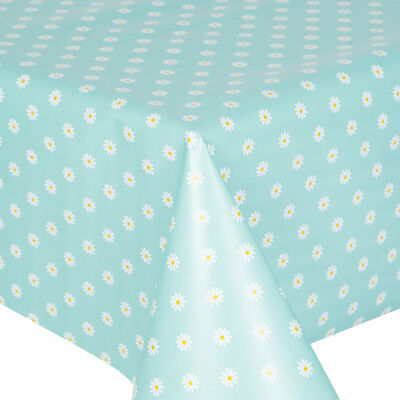 Pvc Table Cloth Daisy Duck Egg Floral Polka White Yellow Blue Wipe Able Cover