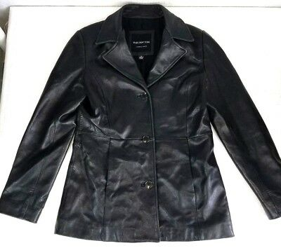 MARC NEW YORK Andrew Marc Men's Leather Jacket Black 74847 Button Front Tapered