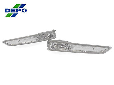 DEPO Pair of Crystal Clear Bumper Side Marker Lights For 2010-2012 Ford Fusion