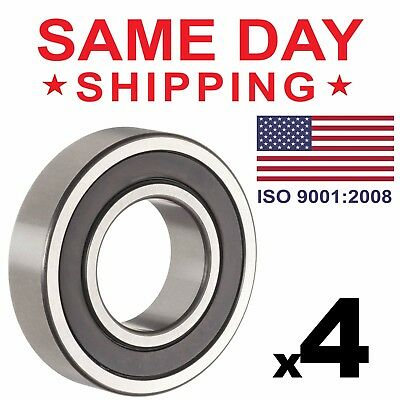 Lot of 4 PCS, 6204-2RS Rubber Sealed Ball Bearing, 20x47x14, Lubricated 6204RS