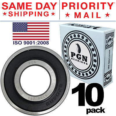 Lot of 10 PCS, 6204-2RS Rubber Sealed Ball Bearing, 20x47x14, Lubricated 6204RS