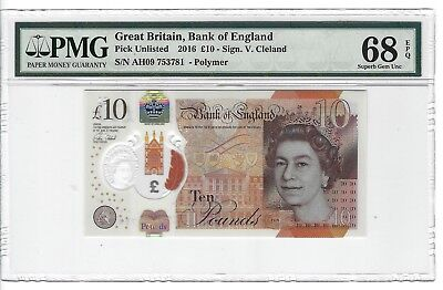 P-UNLISTED  2016 10 Pounds, Bank of England, Great Britain, Polymer, PMG 68EPQ
