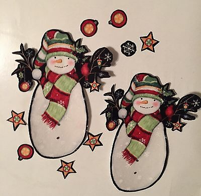Large Christmas Snowmen  - Iron On Fabric Appliques - Holiday Crafts