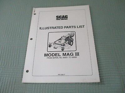 Scag Illustrated Parts list for Model MAGNUM III, Used , 3 hole binder set up.