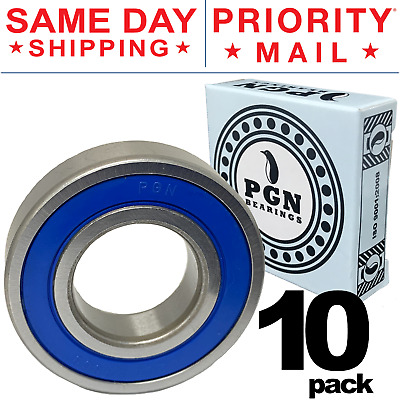Lot of 10 PCS, 6206-2RS Rubber Sealed Ball Bearing, 30x62x16, Lubricated 6206RS