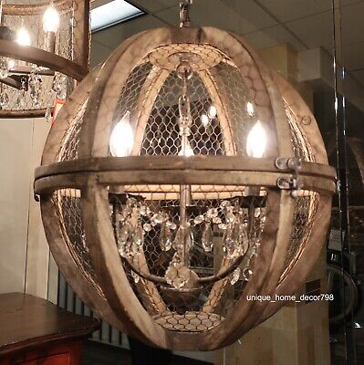 Rustic Crystal Bronze & Wood Birdcage Chandelier Pendant French Farmhouse Light
