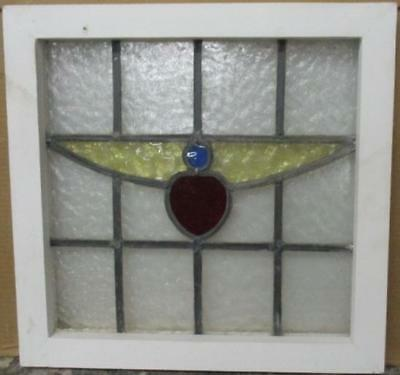 """OLD ENGLISH LEADED STAINED GLASS WINDOW Cute Abstract 17.75"""" x 17.25"""""""