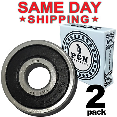 Lot of 2 PCS, 6301-2RS Rubber Sealed Ball Bearing, 12x37x12, Lubricated 6301RS