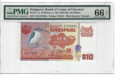 P-11a 1979-80 10 Dollars, Singapore, Board of Comm. of Currency, PMG 66EPQ