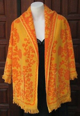 Vintage 1970s Handmade Plush Towel Beach Cover Up Pool Coverup One Size