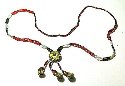 Vintage African Necklace With A Brass Medallion And Brass Bells, From Nigeria