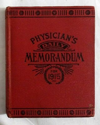 Antique 1915 PHYSICIAN'S MEMORANDUM Medical Journal LEDGER Medicine Branford CT
