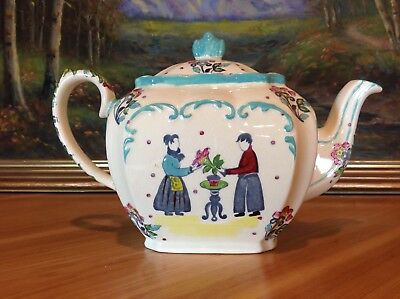 Sadler Cube Teapot with Hand Painted Couple, Flowers, Numbered, Made in England