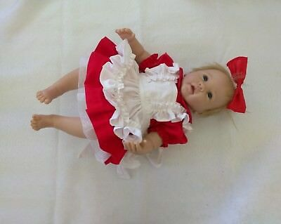 NewBorn Baby Girl Red and White 2 piece Dress/Layette with bootie and blanket
