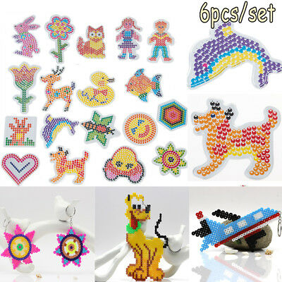 Puzzle Pegboards Patterns with colored paper For 5mm Hama Perler Beads Kids Toys