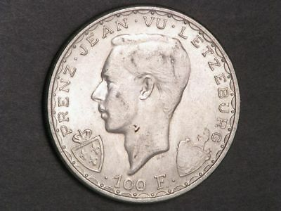 LUXEMBOURG 1946 100 Francs John the Blind Silver Crown UNC