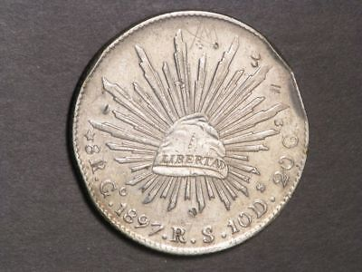 MEXICO 1897GoRS 8 Reales Silver Crown XF