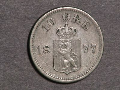 NORWAY 1877 10 Ore Silver VF