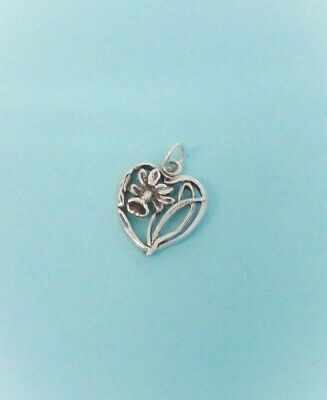 Sterling Silver Daffodil Flower Heart Charm / Pendant, Made in USA
