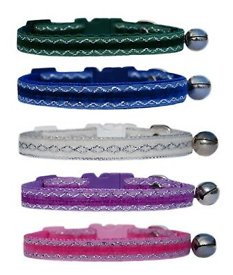 Lilac purple, pink , forest green, blue  Velvet safety kitten cat collar bell