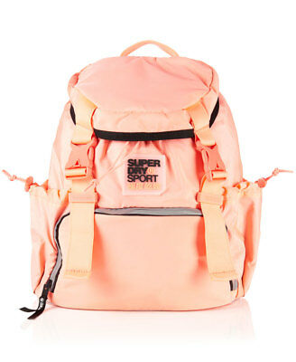 New Womens Superdry Super Sport Backpack Fluro Coral