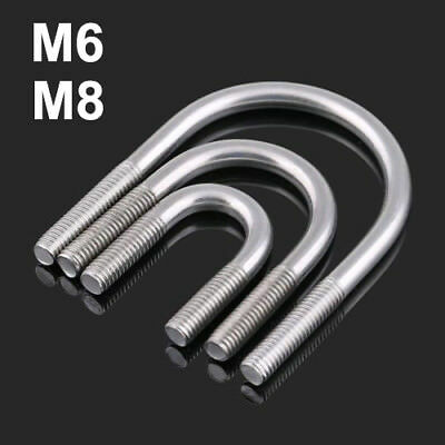 M6/M8 U Bolts Round Bend U-Bolt Clamp 304 Stainless Steel Pipe Diameter 14~161mm