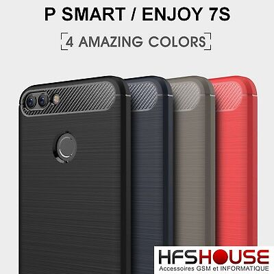 Pour Huawei P Smart Coque Housse Etui Carbone Silicone Gel Case Cover